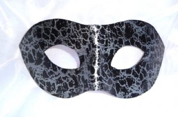 Genuine Handmade Unique Embellished Silver & Black Leather Mask (a